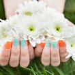 Close Up Of Woman's Hands Holding Flower — Stock Photo