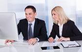 Two Happy Business Colleagues At Office — Stock Photo