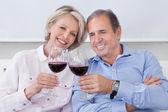 Portrét starší pár opékání s vínem — Stock fotografie