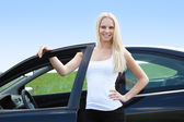 Young Woman Standing In Front Of Her Car — Stock Photo