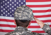 Portrait Of Solider Saluting — Stock Photo