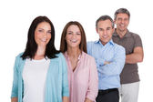 Happy Businesspeople Standing In Row — Stock Photo