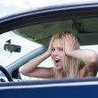Frustrated Woman Screaming Sitting In Car — Stock fotografie