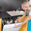Stock Photo: WomOpening Dishwasher