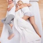 Uncomfortable Husband Sleeping — Stock Photo #29295581