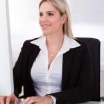 Happy businesswoman using computer — Stock Photo #29296189