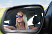 Young Woman Driving Car — Stock Photo