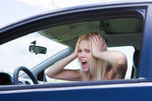 Frustrated Woman Screaming Sitting In Car — Stock Photo
