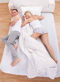 Uncomfortable Husband Sleeping — Stock Photo