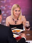 Couple Having Dinner At Restaurant — Photo