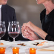 Affectionate Couple In Restaurant — Stock Photo
