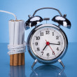 Cigarettes Tied With Rope And Alarm Clock — Foto de Stock