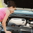 Woman Looking Under Hood Car — Stock Photo #29747959
