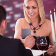 Surprised Woman In Restaurant — Stock Photo