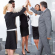 Business People Celebrating With A High-five — Stok fotoğraf