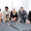 Businesspeople Being Ready For Race — Stock Photo