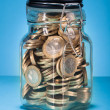 Euro Coins In Jar — Foto Stock