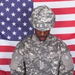 Army Soldier In Front Of American Flag — Stock Photo