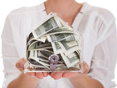 Bir kutu para tutan genç kadın — Stok fotoğraf