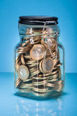 Euro Coins In Jar — Stock Photo
