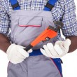 Stock Photo: Plumber Holding Pipe Wrench