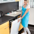 Stock Photo: WomClosing Dishwasher