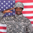 Army Soldier Saluting In Front Of American Flag — Stock Photo #30373945