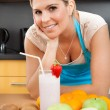 Woman With Strawberry Milkshake — Stock Photo