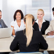 Female Woman Sitting At Interview — Stock Photo