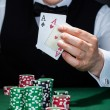 Croupier holding playing cards — Stok Fotoğraf #30374133