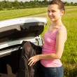 Woman With Backpack Near The Car — Stock Photo