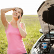Stock Photo: WomCalling On Mobilephone For Road Service