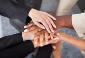 Multiracial Businesspeople Stacking Hands — Stock Photo