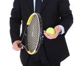 Businessman With Racket And Ball — Stock Photo