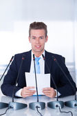 Young Businessman In Conference — Stock Photo