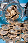 Euro Coins Spilling From Jar — Stock Photo