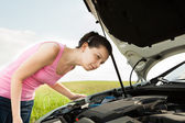 Woman Looking Under Hood Car — Stock Photo