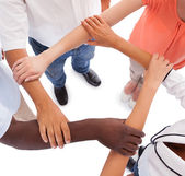 Multi-racial Hands Holding Each Other — Stock Photo