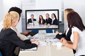 Video conference in the office — Stock Photo