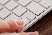 Female Hand Over Keyboard — Stock Photo