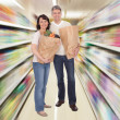 Senior Couple With Grocery Bag — Stock Photo