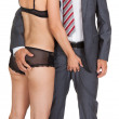 Businessman with woman in lingerie — Stock Photo