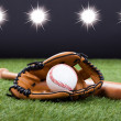 Baseball Glove With Baseball And Bat — Stockfoto