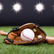 Постер, плакат: Baseball Glove With Baseball And Bat