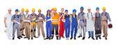 Grupo de trabajadores de la construcción — Foto de Stock