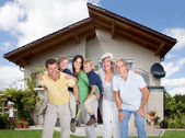 Multi-generation Family In Front Of House — Stock Photo