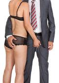 Uomo d'affari con donna in lingerie — Foto Stock