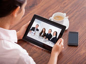 Woman Video Conferencing On Digital Table — 图库照片