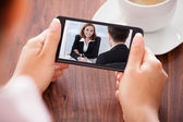 Woman Video Conferencing On Mobile Phone — Stock Photo