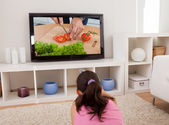 Woman Watching Television — Stock Photo